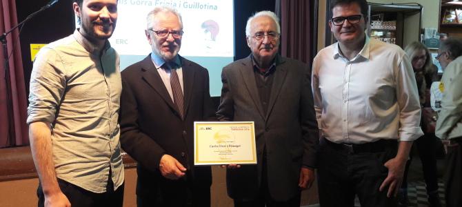 ERC Terrassa premia Carles Viver i Pi-Sunyer amb el Gorra Frígia als valors republicans
