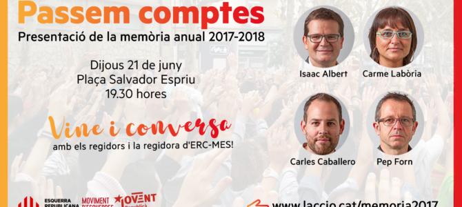 Presentació Memòria 2017-18 del grup municipal d'ERC-MES